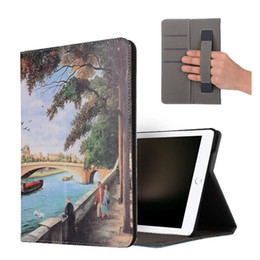Wholesale Hand Horse Painting - color painting retro crazy horse multi function wallet card hand strap folding folio leather case cover for iPad Pro 10.5