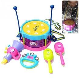 Wholesale Musical Instruments Set Kids - 5pcs Roll Drum Musical Instruments Band Kit Kids Children Toy Gift Set toys for children