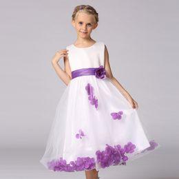 Wholesale Sz Girls Dress Purple - Kids Infant Girls Princess Flower Petals Tulle Formal Wedding Pageant Dress Knee Length SZ 2-14
