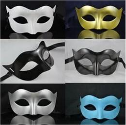 Wholesale Venetian Mask Colors - 2017 new Men's Masquerade Mask Fancy Dress Venetian Masks Masquerade Masks Plastic Half Face Mask Optional Multi-colors free shipping