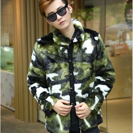 Wholesale Men Mink Fur Collar - Wholesale- Fashion Man Winter Warm Artificial Fur Men's Jackets Leisure Camouflage Coat Male Mink Hooded Coats Faux Fur Rabbit Clothing