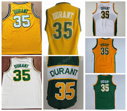 Wholesale White Fans - Men Throwback Seattle Supersonics Jerseys 35 Kevin Durant Jersey Super sonics For Sport Fans Color Yellow Green White