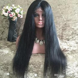 Wholesale Middle Part Malaysian Wigs - Silky Straight Lace Front Wigs Malaysian Cheap Unprocessed Middle Part Virgin Hair Silky Straight Glueless Lace Front Wigs For Black Women