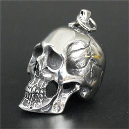 Wholesale Beaded Circle - Newest Huge Heavy Skull Pendant 316L Stainless Steel Jewelry Personal Design Cool Men Boys Biker Skull Pendant