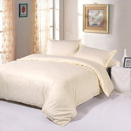 Wholesale Satin Egyptian Cotton Duvet Sets - Wholesale- Luxury 5 Star Hotel Bedding Set 100% Egyptian Cotton Elegant Satin Strip Bed Linen Duvet Cover Bed Sheet Fitted Sheet Pillowcase