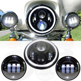 "Wholesale Halo Headlight Kits - 7"" Round Angel Eye Led HALO MOTORCYCLE Projector Daymaker Hi Lo Headlight 4.5"" Foglight KIT For Harley Touring"
