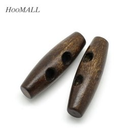 Wholesale Coat Buttons Sewing - 25PCs 2 Holes Wooden Buttons Sewing Horn Toggle Buttons For Coat Cloth Accessories Craft DIY And Scrapbooking 3.5x1.1cm