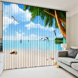 Wholesale Modern Window Blinds - High Quality Customize size Modern beach tree custom curtain 3D Window Curtains For Bedding room