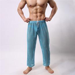Wholesale Man S Robe - New Men Long Johns Underpants Fashion Mesh Hollow Out See Through Breathable Nightwear Sexy Sleepwear Bathing Robe Gay Male Clubwear