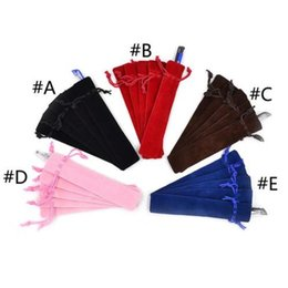 Wholesale Wholesale Storage Bins - 5 Pcs Velvet Pen Pouch Holder Single Pencil Bag Pen Case Storage Boxes & Bins Rope Locking Gift Bag