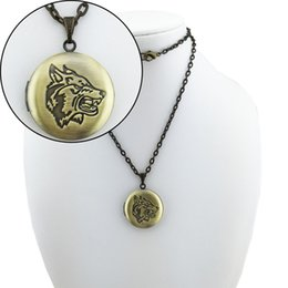 Wholesale cameo jewelry wholesale - BOYUTE 5 piece 70CM Chain 28MM Round Pendant Wolf Carved Cameo Locket Necklace Vintage Jewelry DIY Jewelry Accessories