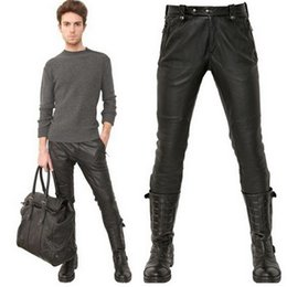 Wholesale Leather Pants Zippers - Male Black Leather Pants Super Skinny Motorcycle Biker Faux Leather Pu Trousers For Men Quilted Knee Leather Cothing