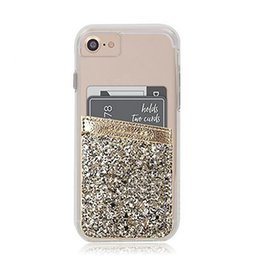 Wholesale Glitter Stickers Iphone - Bling Glitter Wallet Credit Card Pocket Sticker Adhesive Holder Pouch Mobile Phone 3M Gadget Universal Samsung iPhone OPP BAG