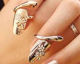 Wholesale Dragonfly Flower Nail - 1pc Stylish Personality Nice Dragonfly Rhinestone Flower Finger Tip Nail Ring with Free Shipping A3375-A3376
