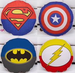 Wholesale Batman Pillow Cases - The Avengers Super Hero Cushion Cover Superman Captain America Batman The Flash Cushion Covers Decorative Linen Cotton Round Pillow Case