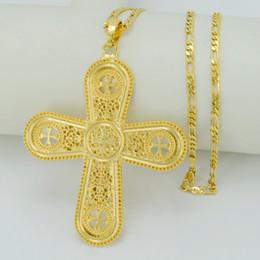 Wholesale Big Cross Bracelets - 2017 Ethiopian Big Cross Necklaces For Women Men,Gold Plated Eritrea Cross Pendant Jewelry Christian Catholic Gift #049906