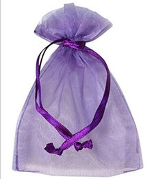 Wholesale Diy Candy Beads - 100 Pcs Purple Organza Jewelry Gift Pouch Bags 9X12cm ( 3.5 x 4.7 inch) Drawstring Organza for DIY Gift Candy Beads