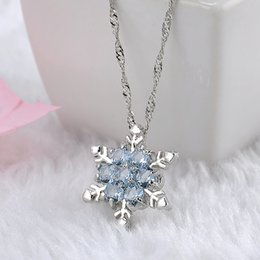 Wholesale Vintage Snowflake Necklace - Charm Vintage lady Blue Crystal Snowflake Zircon Flower Silver Necklaces & Pendants Jewelry for Women