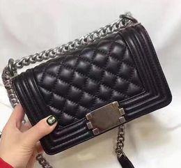 Wholesale Quilted Leather Handbag Black - High quality Mini Le Boy Quilted chain bag Genuine Lambskin Leather Women's 20CM Handbags Mini 67085 Shoulder Bags leboy Flap Bag