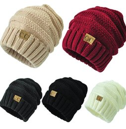 Wholesale Wholesale Skull Hats - Unisex CC Trendy cap Fedora Knitted Hats Luxury Cable Slouchy Beanie Winter Fashion Beanies Outdoor Ski Hats Slouch cap 16 color KKA1605