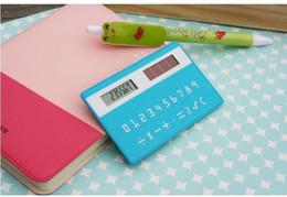 Wholesale Handheld Alarm Clock - Stationery card ultra-thin portable calculator solar calculator mini handheld computer calculator
