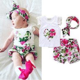 Wholesale Little Girls Outfits - Little Girls Boutique Floral Summer Baby Girls Clothing Set Lace Ruffle Sleeve Girls Tees Short Pants Headband Toddler Outfit 3T