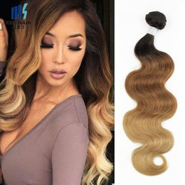 Wholesale Remy Hair Pieces - T4 30 27 Brown Blonde Brazilian Ombre Human Hair Weave Bundles Silky Straight Body Wave Ombre Braiding Peruvian Cambodian Indian Remy Hair