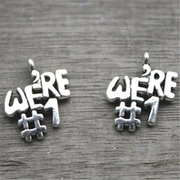 Wholesale Tibetan Number Charms - 20pcs--Champions Charm, Antique Tibetan Silver Tone We're Number One charm pendants 21x16mm