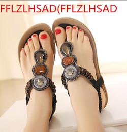 Wholesale Gold Flat Wedge Sandals - Woman 2017 New Summer Flat Sandals Ladies Summer Bohemia Beach Flip Flush Women Shoes Sandles Low Sandalias35 --- 43
