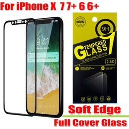Wholesale Iphone 3d Carbon Fiber - For iphone X 8 7 6 Plus and iphone 5 3D Carbon Fiber soft edge Full cover Tempered Glass phone Screen Protector Film