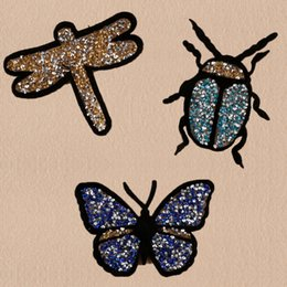 Wholesale Ladybird Clothes - 10pcs Butterfly Iron On Patch For Clothing Beaded Sequins patches Embroidered Glitter Patch Jacket Ladybird Patchwork Applique