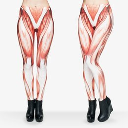Wholesale Muscle Pants Women - Women Leggings Muscles 3D Graphic Print Lady Skinny Stretchy Gym Fitness Yoga Wear Pants Girls Workout Full Length Capris Trousers (J29532)