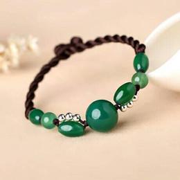 Wholesale Emerald Version - Misty rain, Jiangnan original national wind, simple Chinese wind agate hand ornaments bracelet, Lady Green, Korean version, hand rope, retro