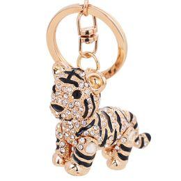 Wholesale Tiger Rings Women - Brand New Fashion Colorful Cute Tiger Key Chain Cartoon Keychain Rhinestone Key Ring Crystal Key Bag Accessories