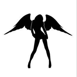 Wholesale Car Wing Doors - Hot Sale Sexy Angel Car Sticker Lovely Angel Wings Motorcycle Interesting Car Styling Vinyl Graphics Decals Jdm