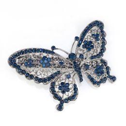 Wholesale Blue Pony Tail - Amazing Butterfly Hairpin Blue Crystal Headwear Barrette Hair Clip Headwear Accessories Jewelry For Woman Girls