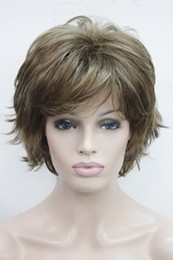 Wholesale ladies short wigs - Free shipping Super light brown with blonde highlight highlights wavy flip ends lady' synthetic short wig