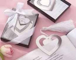 Wholesale Grace Boxes - Wholesale- Creative stainless steel bookmarks European love heart gift box wedding guests party favor grace Wholesale
