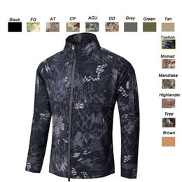 Wholesale Hunting Camouflage Clothing - Outdoor Clothes Woodland Hunting Shooting Tactical Camo Coat Combat Clothing Camouflage Windbreaker Softshell Outdoor Jacket SO05-200