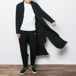 Wholesale Kimono Sleeve Punk - Wholesale- 2017 China style mens trench jacket male spring autumn kimono cardigan coat punk fashion casual long trench outwear F13