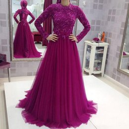 Wholesale India Long - Fuchsia Muslim Evening Dresses With Long Sleeves Tulle Appliques Lace 2017 A-line India Women Islamic Special Occasion Party Gowns