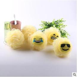 Wholesale Bathroom Balls - Child Cartoon Emoji Bath Ball Multi Style Bath Flower Sponge Mesh Shower Balls Bathroom Body Shower Balls CCA8341 1000pcs