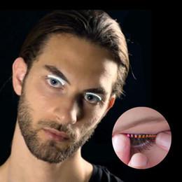 Wholesale Double Eye Sticker - LED Glowing False Eyelashes Luminous Eyes LED Eyelash Lamp Double Skin Stickers False Eyelashes Lamp Halloween Gift