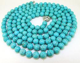 """Wholesale Turquoise Gemstone Heart Beads - Fashion 46"""" Lariat Turquoise Necklace Round 8mm Turquoise Gemstone Bead Necklace"""