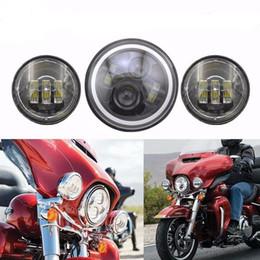 """Wholesale Led Halo Fog Light - Round 7 inch Motorcycle H4 H13 LED Headlights with Halo Angel Eyes And 4.5"""" 4-1 2"""" Black LED Fog Light For Harley Davidson Led"""