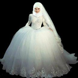 Wholesale Wedding Gowns Online China - Hot Sale 2017 Ball Gown Wedding Dresses Long Sleeve Princess Islamic Muslim Wedding Dress Lace Appliqued China Online Store Vestido De Noiva