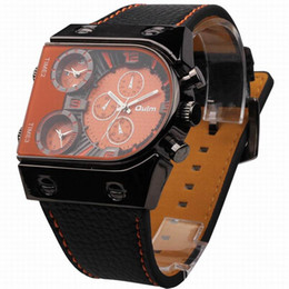 Wholesale Oulm Watches For Men - OULM 9315 Large 3 Time Zone Dial Military Watch for Men Relogio Masculino Marca Esportivo Grande Montre Homme de Marque Grosse