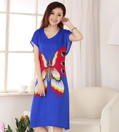 Wholesale Cotton Robes Wholesale - Wholesale- Royal Blue Butterfly Women's Cotton Robe Summer Casual Home Dress Gown V-Neck Nightgown Sleepwear Long Bathrobe One Size WR082