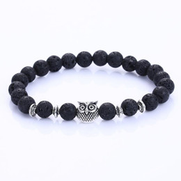 Wholesale New Stretch Bangles - New Owl Natural volcano Stone Beads Bracelet & Bangle for Men Women Stretch Yoga Lava Stone Jewelry Fashion Accessories for Lovers