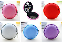 Wholesale Round Zipper Pouch - Portable Mini Round Hard Zipper Sport Earphone Cable Carrying Pouch Storage Case Bag for Earphone Headphone SD TF Cards Cable Cord Wire